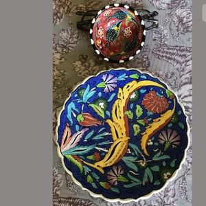 NEW Turkish Decor Plate & SM Bowl Hand Painted
